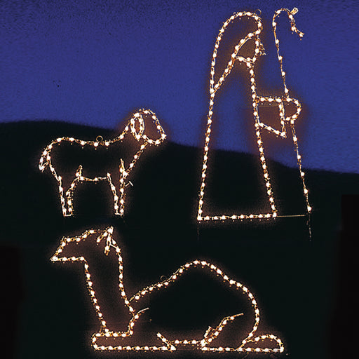 Small Lamb, Shepherd & Camel LED light outdoor yard motif, Christmas, Religious, Holiday decorations, professional artist Gene V. Dougherty.
