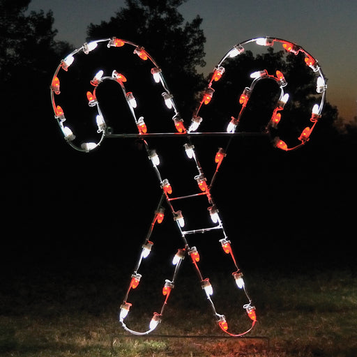Red and White Cross Candy Cane Outdoor Traditional Christmas Holiday motif, C7 Bulbs, Commercial or Residential, aluminum frame