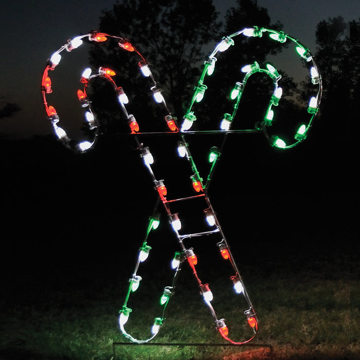 Candy Canes - Red, White & Green, Holiday outdoor decoration, C7 LED bulbs, aluminum frame, spearmint,