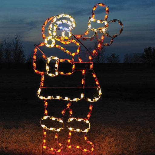 giant, life-size, commercial-grade, outdoor, Christmas, holiday, LED, bulb, lights, aluminum frame, quality, durable, motif, display, 2021, animated, waving Santa, Kris Kringle, Saint Nick, Father Christmas, red, white, blue