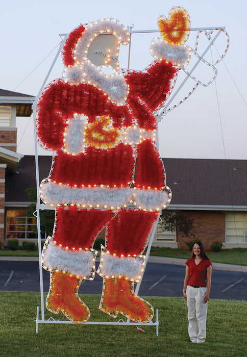 commercial-size, 17 foot tall Waving Santa, Traditional, holiday, Christmas animated outdoor motifs,