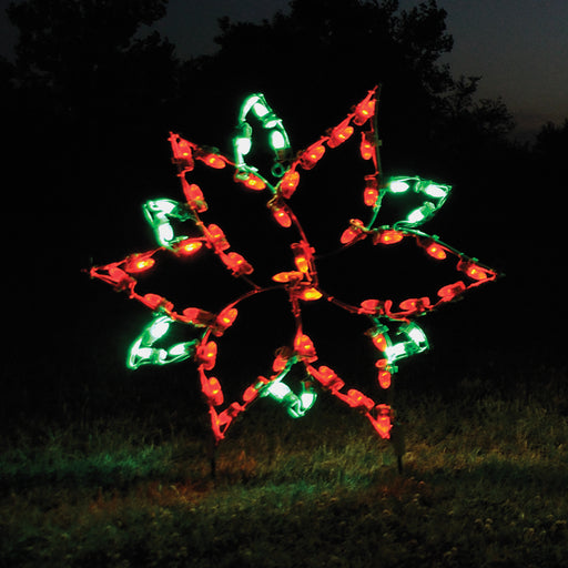 Small Poinsettia LED light motif, outdoor yard, holiday, Christmas decorationå
