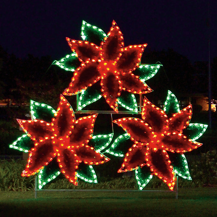 Life sized, Christmas holiday outdoor motif, commercial grade, poinsettia, cluster, red, green, LED, bulbs, 2021