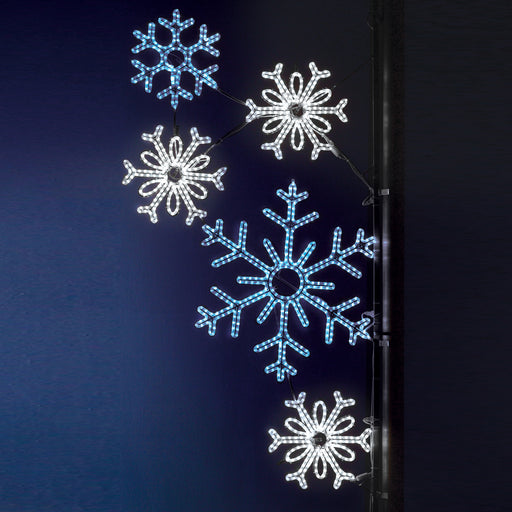 large, commercial-grade, outdoor, Christmas, holiday, LED, rope light, quality, durable, motif, decoration, snowflake, pole, mounted, 2021, blue, pure white, snowflakes