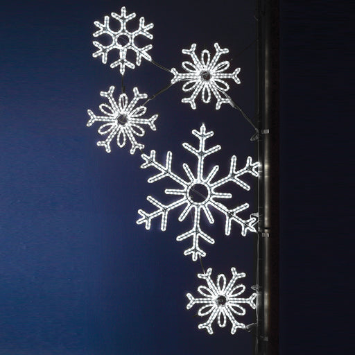 Pole Decoration - Snowflake Array - Pure White Snowflakes, city decorations, holiday, winter, traditional illuminating outdoor light motifs
