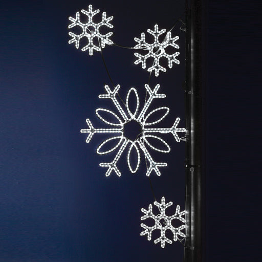 Pole Decoration - Snowflake Clusters - Pure White,  city banner decorations, holiday, winter, traditional illuminating outdoor light motifs