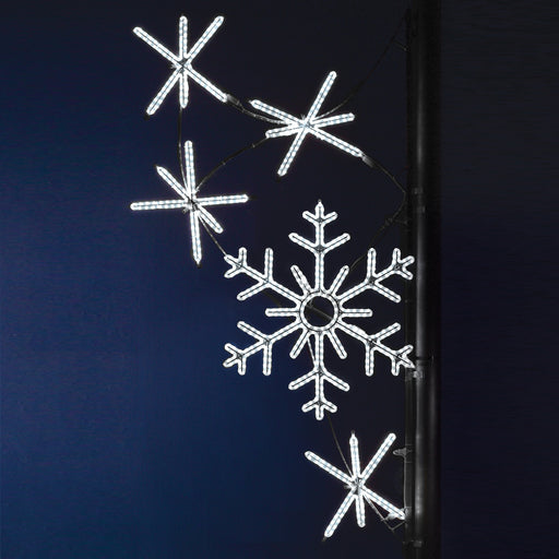 Pole Decoration - Snowflake Cascade - Pure White, city decorations, holiday, winter, traditional illuminating outdoor light motifs