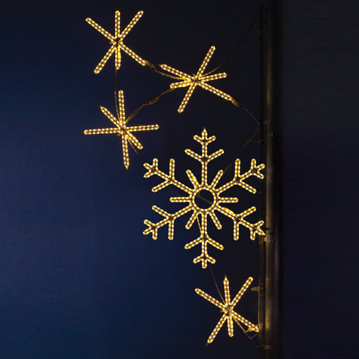 Pole Decoration - Snowflake Cascades - Warm White, city decorations, holiday, winter, traditional illuminating outdoor light motifs