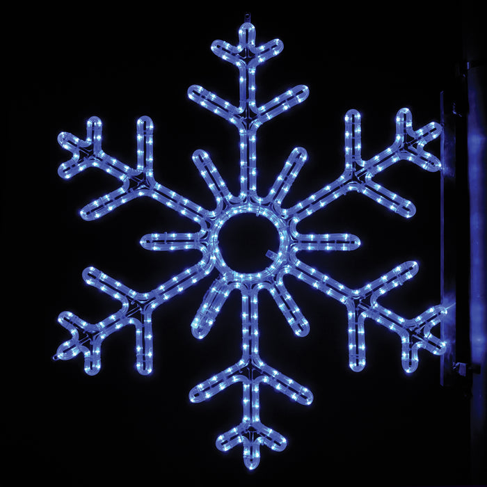 large, commercial-grade, outdoor, Christmas, holiday, LED, rope light, quality, durable, motif, decoration, snowflake, pole, mounted, blue, 2021