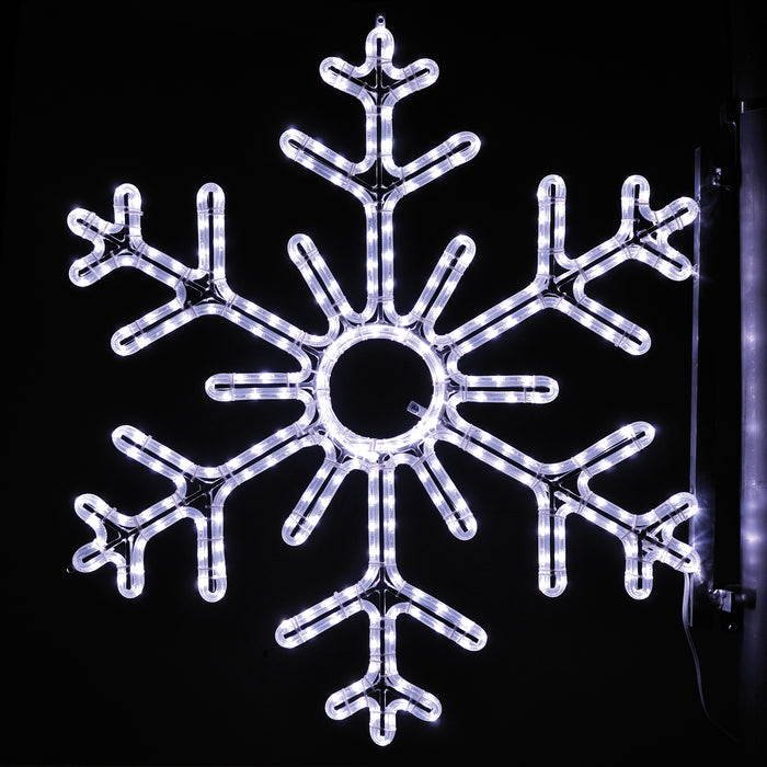 large, commercial-grade, outdoor, Christmas, holiday, LED, rope light, quality, durable, motif, decoration, snowflake, pole, mounted, pure white, 2021