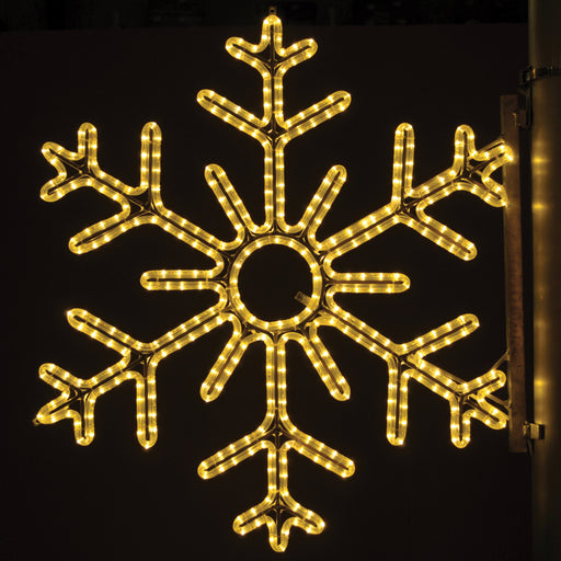 large, commercial-grade, outdoor, Christmas, holiday, LED, rope light, quality, durable, motif, decoration, snowflake, pole, mounted, warm white, 2021