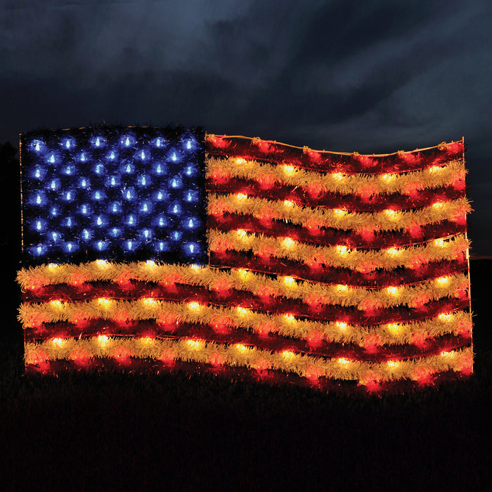 patriotic red white & blue American Flag, Illuminating outdoor light motif, Fourth of July decorations