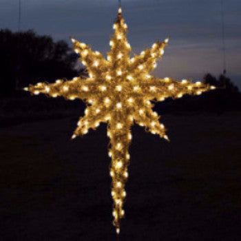 3D (three dimensional) Moravian Stars , 6ft, Warm White,  commercial grade C7 LEDs and is filled and trimmed in PVC garland, Star of Bethlehem for large nativity Set, Aluminum frame
