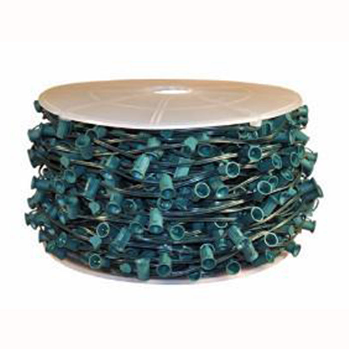 "Bulk Roll of 500 Feet C9 Sockets spaced 12"" on Green SPT-1 18 awg outdoor rated wire."