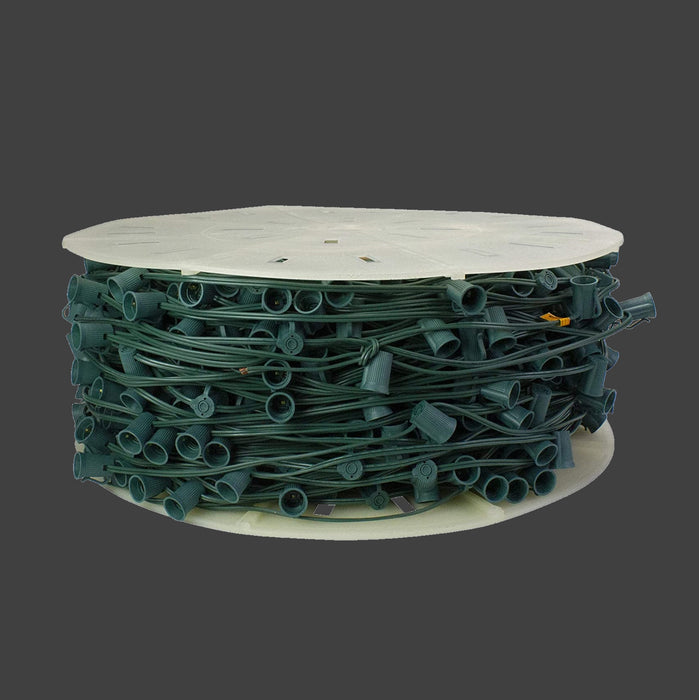 "Bulk Roll of 500 Feet C7 Sockets spaced 6"" on Green SPT-1 18 awg outdoor rated wire."