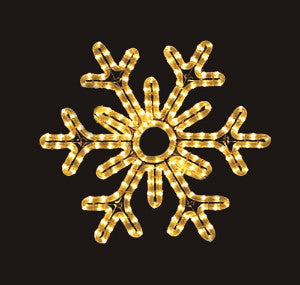 Hanging 18 Inch 6-Point Snowflake - Warm White  (1020-W)