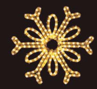Warm White Single Loop Snowflake hanging 18 inch rope light illuminating holiday, Christmas traditional outdoor decoration, window display,