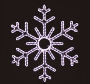 Pure (Cool) White 6-Point Snowflake hanging 36 inch, 3 feet rope light illuminating holiday, Christmas traditional outdoor decoration, window display,