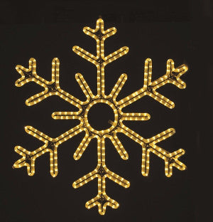 Hanging 48 Inch 6-Point Snowflake Warm White , 4 feet rope light illuminating holiday, Christmas traditional outdoor decoration, window display,