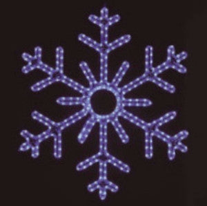 Blue 6-Point Snowflake hanging 36 inch, 3 feet rope light illuminating holiday, Christmas traditional outdoor decoration, window display,