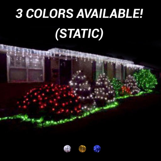 commercial-grade, outdoor, Christmas, holiday, LED, quality, durable, decoration, 2021, string lights, mini led, icicle, icicle lights, white, blue