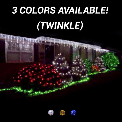 commercial-grade, outdoor, Christmas, holiday, LED, quality, durable, decoration, 2021, icicle lights, mini led, twinkle, white, blue