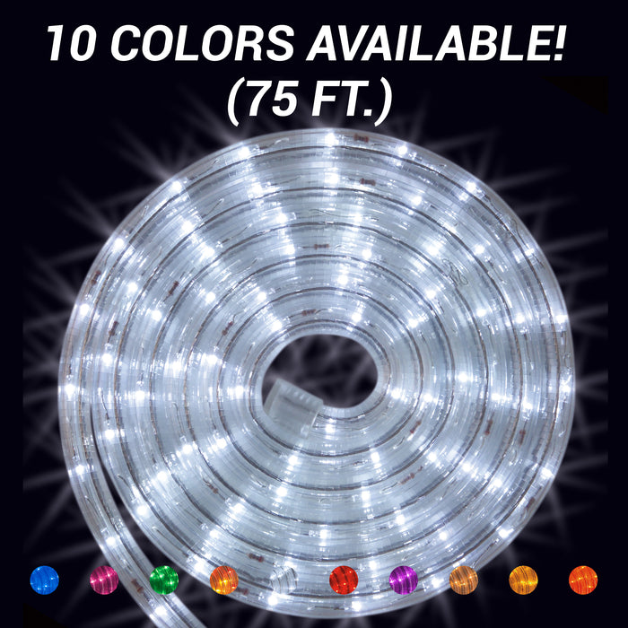 LED Rope Light - 75 feet Roll, Commercial grade,Non-dimmable, outdoor lighting, holiday lighting, event lighting