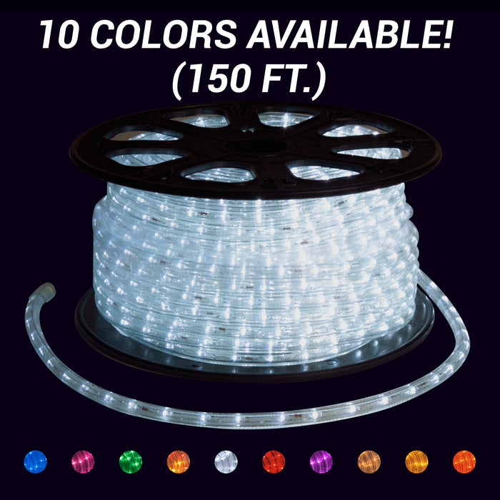 Rope light, roll, splice, cut to size, commercial-grade, outdoor, Christmas, holiday, LED, quality, durable, warm white, pure white, blue, purple, green, orange, red, pink, yellow, 2021