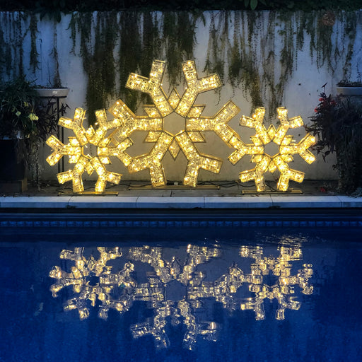 Snowflake, motif, life-size, giant, huge, display, yard ornament, christmas, aluminum frame, durable, commercial grade, outdoor, warm white, gold frame, holiday, pool