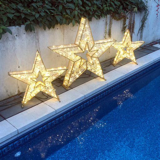 3D. star, motif, life-size, giant, huge, display, yard ornament, christmas, aluminum frame, durable, commercial grade, outdoor, warm white, gold frame, holiday