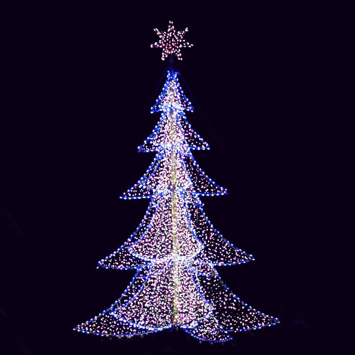 3D, Tree, LED, 6 sided, star, christmas, holiday, display, motif, commercial quality, custom, bulbs, decorating, shopping center, town center, giant tree decoration, life size
