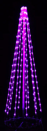 6 Ft. LED Tree - Purple (Twinkle), Commercial LED Light Strings, Aluminium Frames, Outdoor display