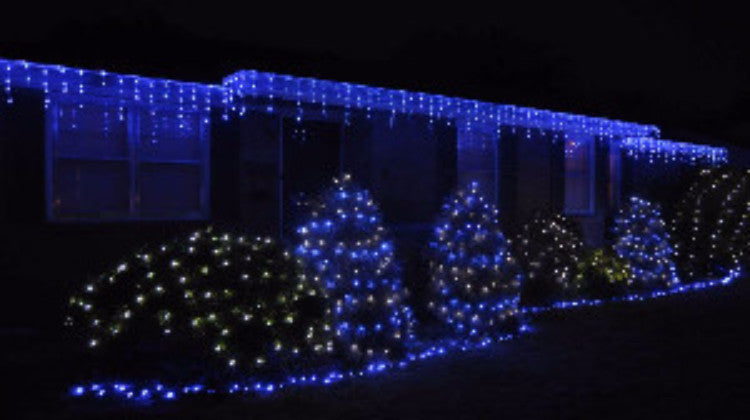 pro led icicle lights blue twinkle outdoor holiday roof lighting christmas - Blue And White Outdoor Christmas Decorations