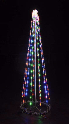 6 Ft. LED Tree - Multi, Commercial LED Light Strings, Aluminium Frames, Outdoor display