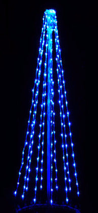6 Ft. LED Tree - Blue (Twinkle), Commercial LED Light Strings, Aluminium Frames, Outdoor display