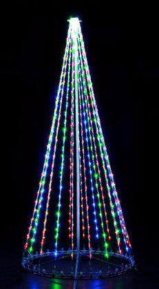 8 Ft. LED Tree - Multi, Outdoor motif, rust-proof aluminum, Commercial Grade Light Strings, illumination