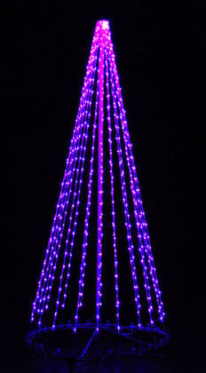 8 Ft. LED Tree - Purple, Outdoor display, rust-proof aluminum, Commercial Grade Light Strings, illumination
