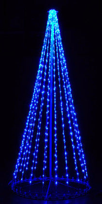 8 Ft. LED Tree - Blue (Twinkle), Outdoor motif, rust-proof aluminum, Commercial Grade Light Strings, illumination