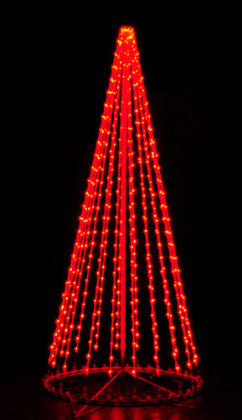 8 Ft. LED Tree - Red, Outdoor display, rust-proof aluminum, Commercial Grade Light Strings, illumination