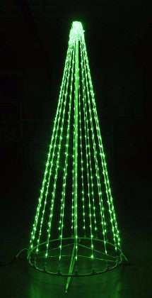 8 Ft. LED Tree - Green, Outdoor motif, rust-proof aluminum, Commercial Grade Light Strings, illumination