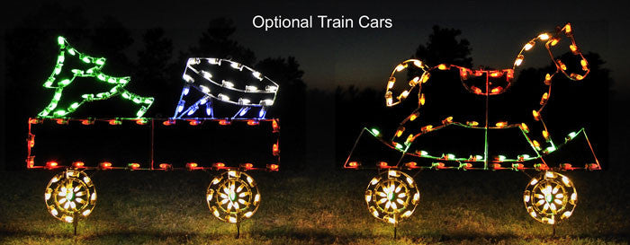 Gondola Train Car with Drum & Christmas Tree, Animated Train Set, Holiday Christmas Traditional outdoor animated decoration