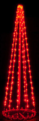 6 Ft. LED Tree - Red (Twinkle), Commercial LED Light Strings, Aluminium Frames, Outdoor display