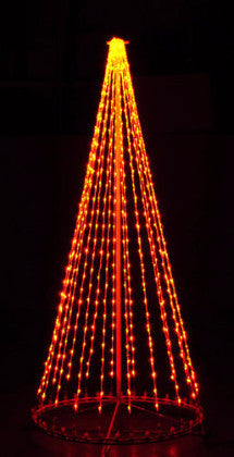 8 Ft. LED Tree - Amber (Orange), Outdoor display, rust-proof aluminum, Commercial Grade Light Strings, illumination