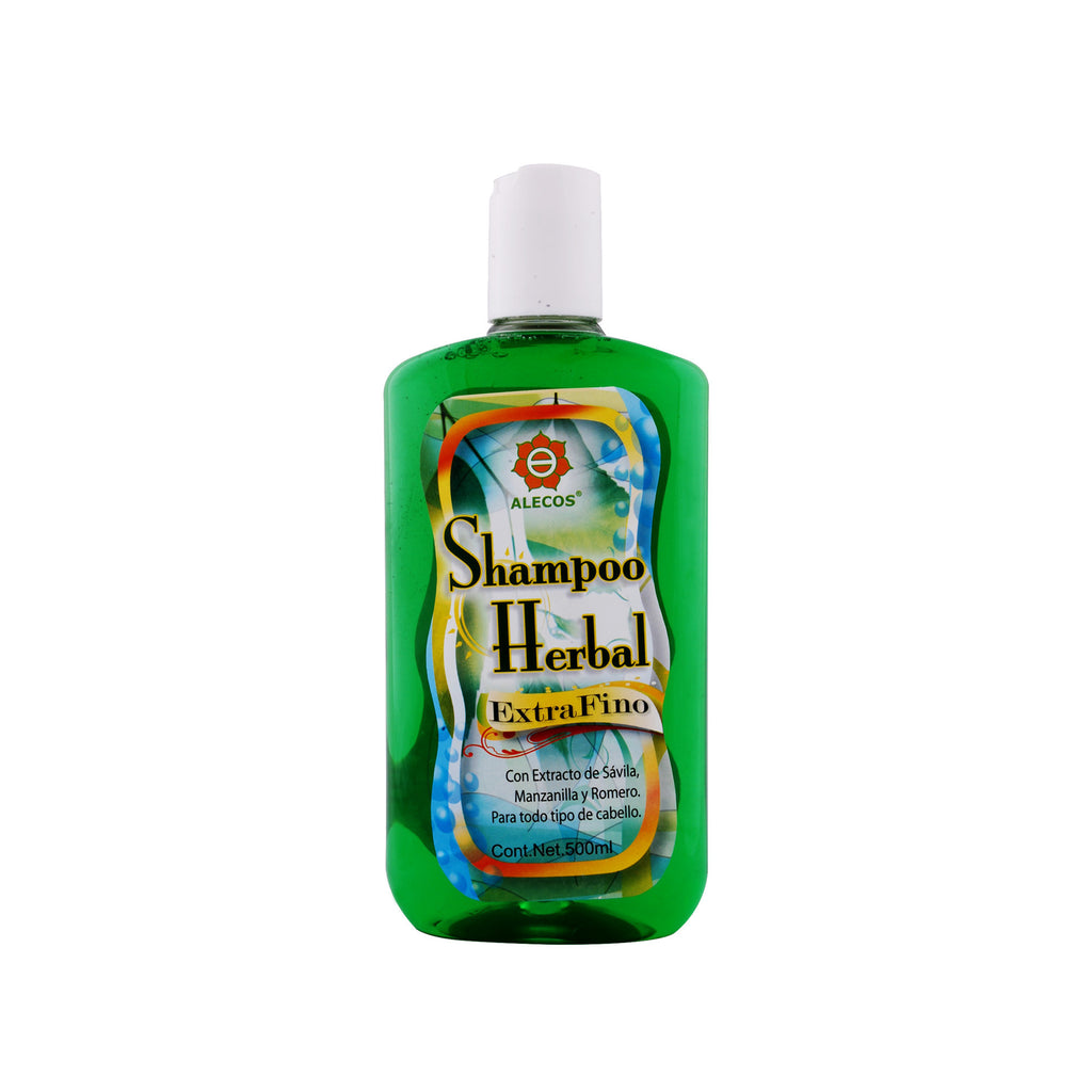 Shampoo Herbal Alecos Extra Fino, frasco con 500 ml