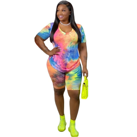 Tsuretobe Plus Size Tie Dye Print 2 Piece Set Women Tracksuit Summer Outfits Tee And Biker Shorts Matching Sets Clothes XL-4XL