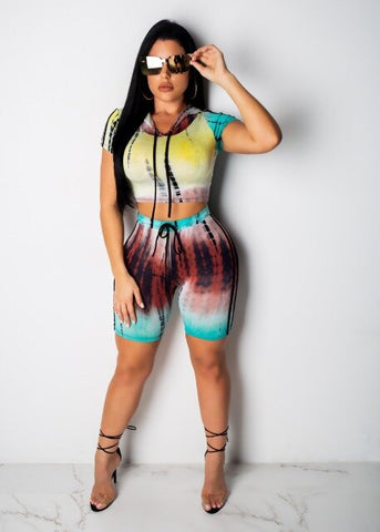 HAOOHU Tie Dye Two Piece Set Women Tracksuit Crop Top and Biker Shorts Festival Clothing Sexy Club Summer Outfits Matching Sets