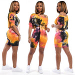 Rainbow Tie Dyeing Summer Two Piece Sets Women Cold Shoulder Short Sleeve Cropped Tshirt + Bodycon Biker Shorts Club Outfits