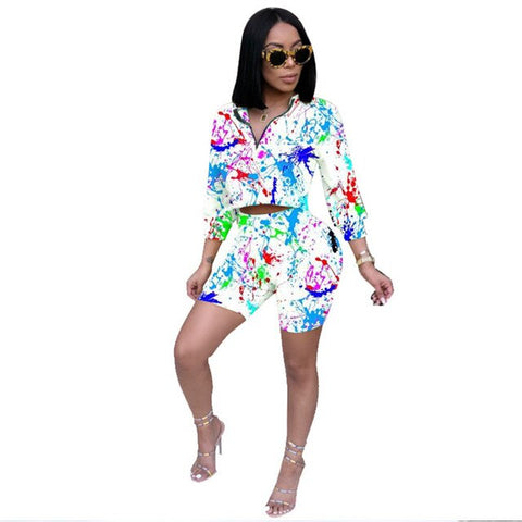 Women Short Two Piece Set Summer Casual Outfits Long Sleeve Crop Top and Biker Shorts Set Tie Dye Print 2 Piece Tracksuit Sets