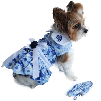 China Doll Blue Rose Harness Dog Dress with Matching Leash