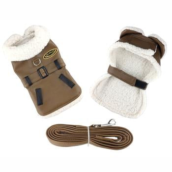 Doggie Design Brown and Black Faux Leather Bomber Dog Coat Harness and Leash